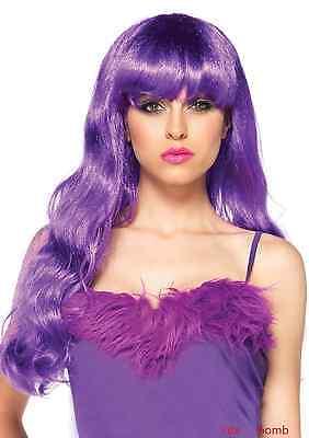SEXY parrucca neon VIOLA capelli lunghi ondulati TRAVESTIMENTO fashion GLAMOUR !