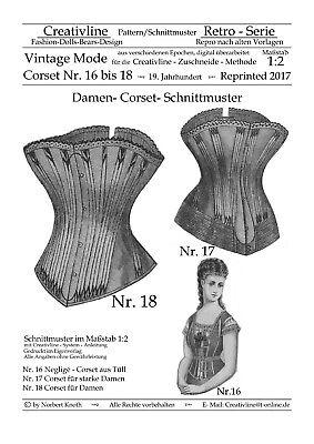 Nr.16 bis 18 Corset Schnittmuster - Repro Historische Kostüme - M. 1:2 - Korsett