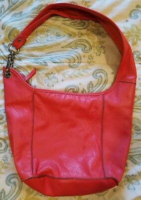 Innue Coral Leather Hobo Purse With Silver Tone Accents