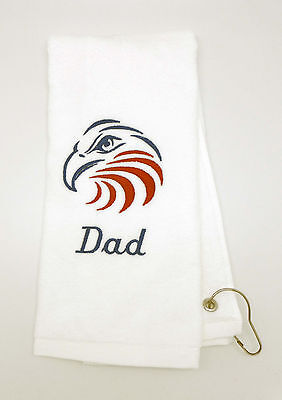 Personalized Embroidered Golf/Bowling Towel American Eagle USA Eagles Embroidered Golf Towel