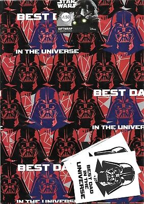 Star Wars Stormtrooper Disney Gift Wrap 2 Sheets 2 Tags Wrapping Paper Birthday