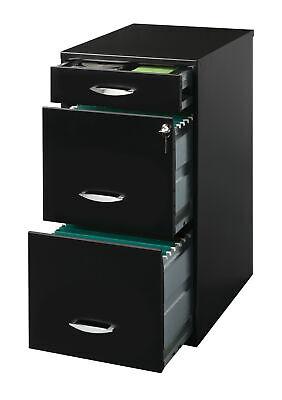 Metal File Cabinet With Pencil Drawer 18 Inch Deep Black Cam Lock Top Storage