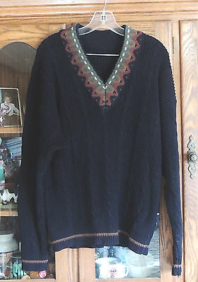 Woman's Pullover Sweater Black Cable Knit Trimmed V-Neck  Ladies X-Large Plus Cable Knit Trim Sweaters