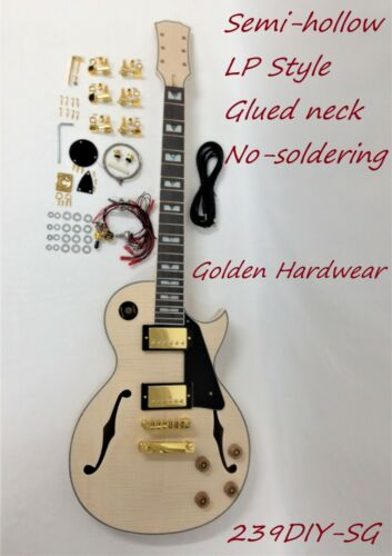 239DIYSG Electric Guitar DIY,No-Solder,Set Neck,Semi-Hollow Body,Golden Hardware