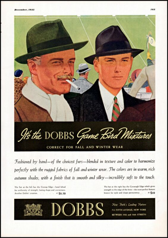 1935 Dobbs Hatters for men NYC football field fall vintage art Print Ad