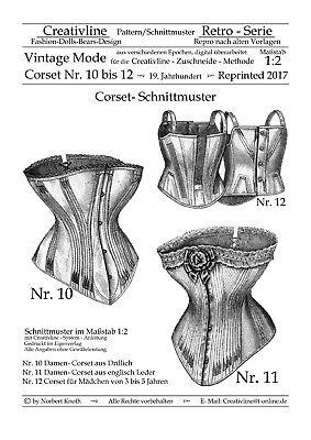 Nr.10 bis 12 Corset Schnittmuster - Repro Historische Kostüme - M. 1:2 - Korsett