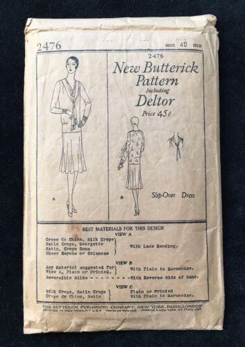 20s SLIP-OVER DRESS PATTERN, Antique Vtg Butterick Deltor Flapper Fashion Sewing