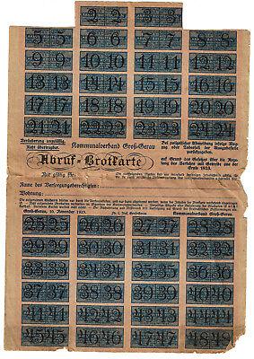 Abruf-Brotkarte Groß-Gerau 1923 Lebensmittelmarke Dokument Lebensmittelkarte