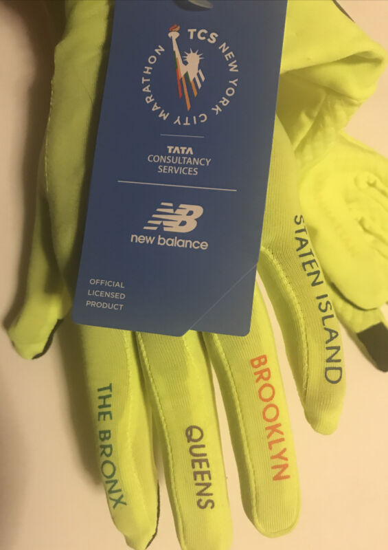 New Balance TCS New York City Marathon Running Texting Gloves Yellow SMALL NWT