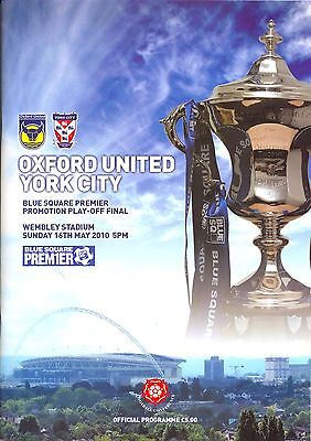OXFORD v YORK CONFERENCE PLAY OFF FINAL 2010 PROGRAMME