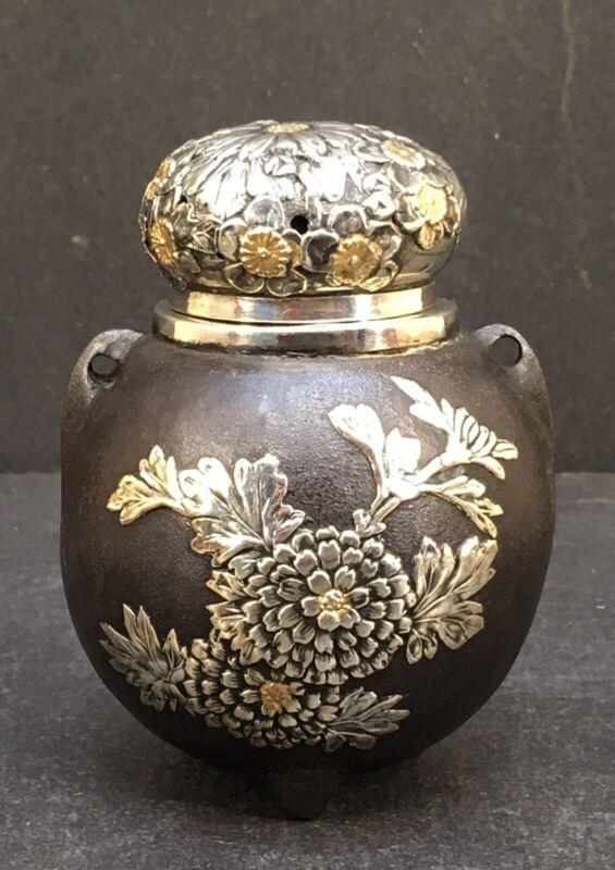 Japanese Meiji Silver & Gold Inlaid Iron Tripod Koro W/ Handles