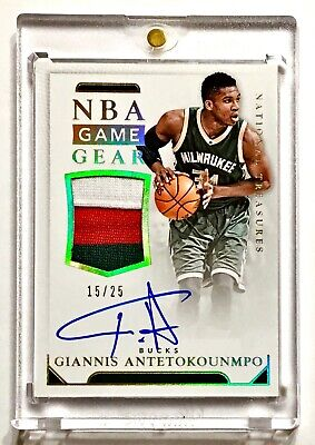 2015-16 National Treasures GIANNIS ANTETOKOUNMPO /25 NBA Game Gear Patch Auto! Milwaukee Bucks Gear