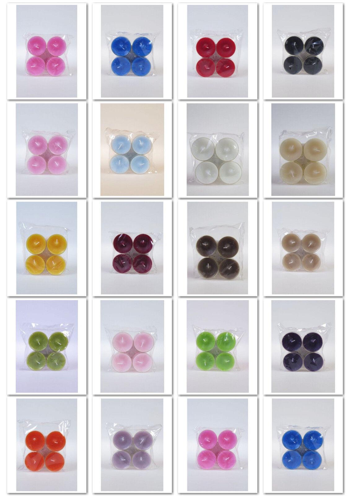 4 dänische Maxiteelichter - große Teelichter im Acrylcup ohne Duft  18 Farben