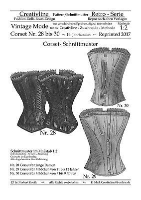 Nr.28 bis 30 Corset Schnittmuster - Repro Historische Kostüme - M. 1:2 - Korsett