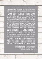 Islands In The Stream - Dolly Parton & Kenny Rogers Lyric Lyrics Music A4 Print - rogers - ebay.co.uk