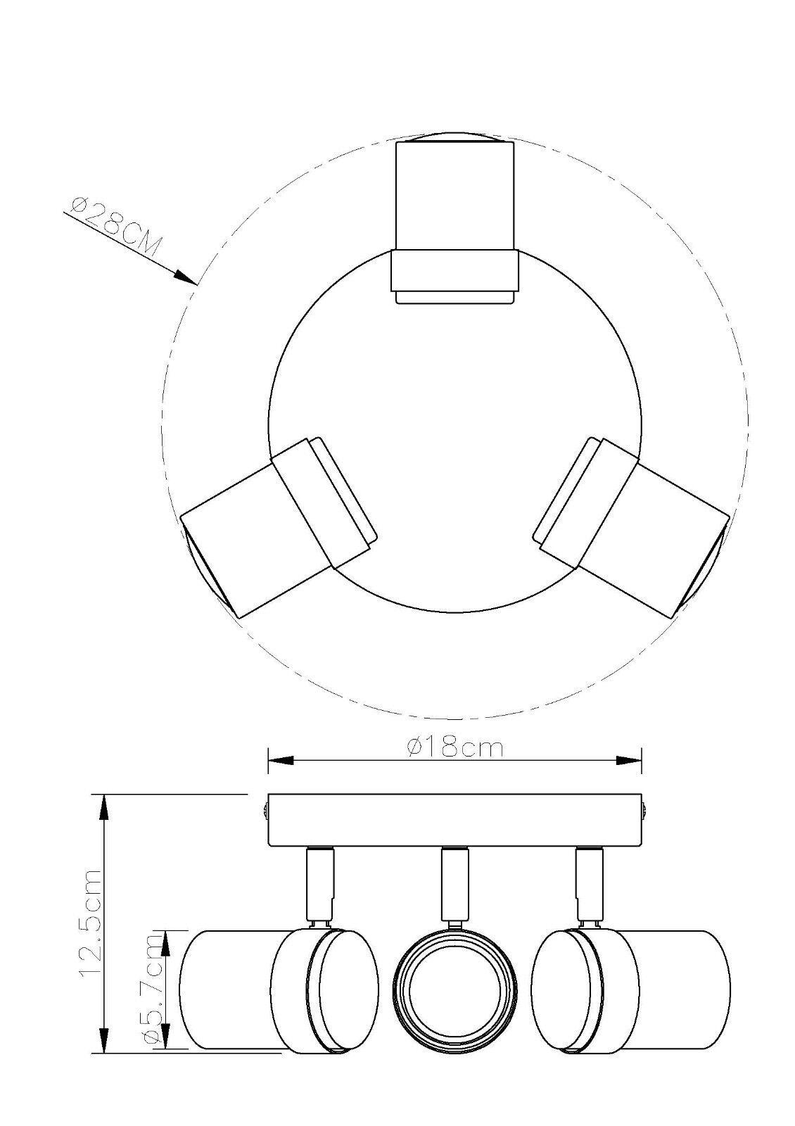 modern 3 way gu10 round ceiling spotlight light fittings