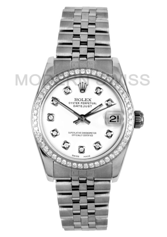 Rolex Ladies Midsize Datejust Steel White Diamond Dial & Bezel Jubilee Quickset