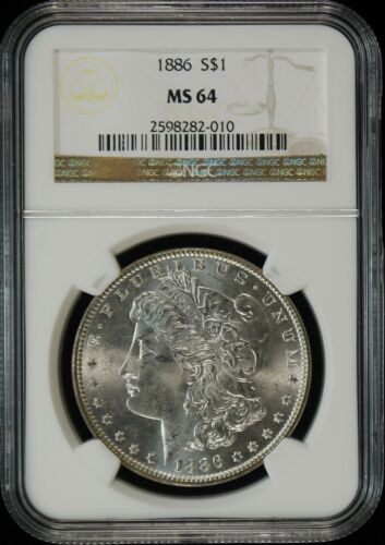 1886 Philly Bright White Obverse Morgan Silver Dollar NGC MS64 w/ toned reverse