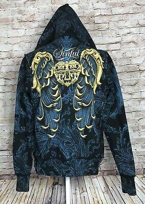 AFFLICTION Sinful Women's M Hoodie Jacket Gold Heart Lock Wing Teal Filigree -