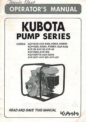 KUBOTA MULTIPLE PUMP series OPERATOR'S MANUAL