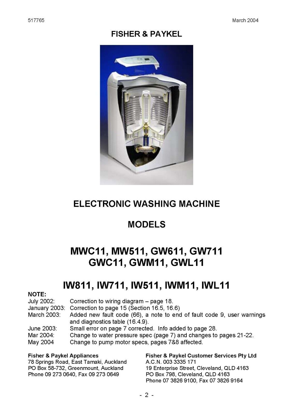 Fisher Paykel Repair Manuals Washing Machine Msr 600 Mini Software Wiring Diagram As And Manual Gw712 We Provide It In The Soft File