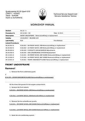 FACTORY Maserati Quattroporte Sport GTS 4200 cc Workshop Manual