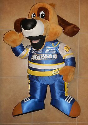 "Aarons Rental Store Lucky Mascot JUMBO Large 36"" Plush Stuffed NASCAR Dog"