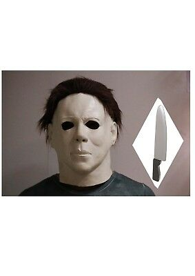 Michael Myers Latex Maske Halloween Horror Maskenkostüm mit Messer