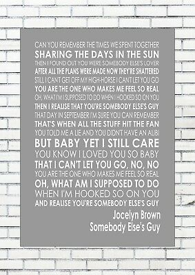 SOMEBODY ELSE'S GUY - JOCELYN BROWN Lyrics  Wall Art Print Poster A4