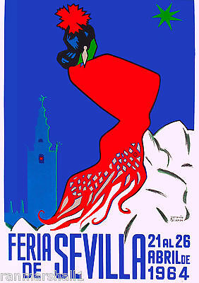 1964 Sevilla Seville Spain Europe European Vintage Travel Advertisement Poster