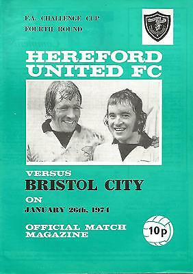 Football Programme - Hereford United v Bristol City - FA Cup - 26/1/1974