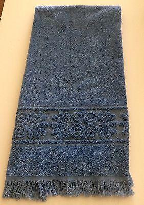 """Vintage Cannon Deep Blue Bath Towel Monticello Fringe Mid Century Mod 21""""x42"""""""