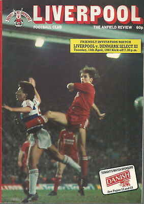 LIVERPOOL F.C V DENMARK SELECT XI FRIENDLY INVITATION 1986/87 MATCHDAY PROGRAMME