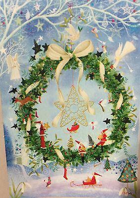 29x43 Winter Festive Holiday Star Wreath Christmas Large FLAG
