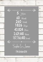 Anniversary Wood Five 5 Fifth 5th Years Year Wedding Personalised Word A4 Print -  - ebay.co.uk