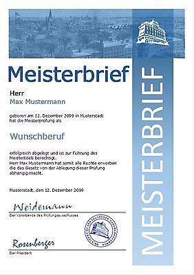 Meisterbrief Meistertitel Meisterurkunde Meisterdiplom Urkunde Diplom - UK-303