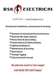 Call BSK Electrical for your local electrical needs