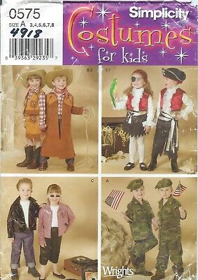 Pirate Halloween Costume Pattern (Simplicity 4918 HALLOWEEN COSTUME Pattern PIRATE WESTERN ARMY 50s Child)