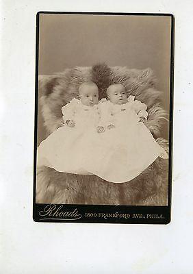 CABINET CARD,Vintage Photo,  Twin Babies, Philadelphia, PA