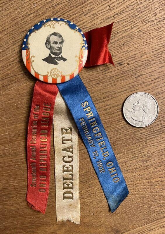 Antique 1902 Ohio Republican League Convention Abraham Lincoln Ribbon
