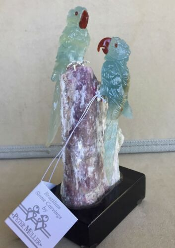 """Blue Calcite Macaw Pair  on Tourmaline 5""""""""-Peter Muller"""