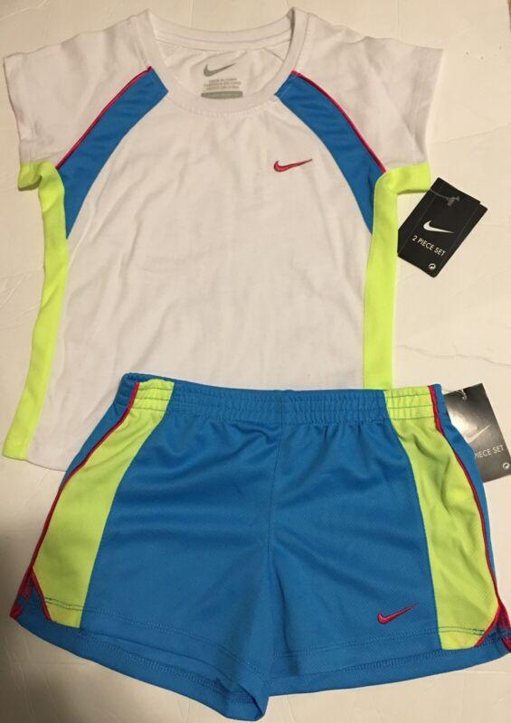 Nike Little Girls Two Piece Short Set Vivid Blue White Sizes 4 5 6