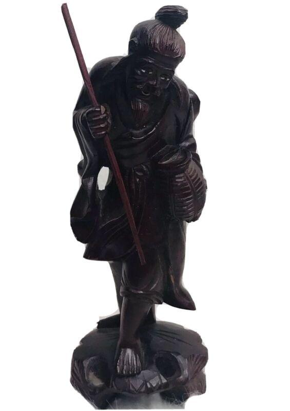 VINTAGE Carved Red Wood Japanese EBISU GOD OF WEALTH FORTUNE Figure
