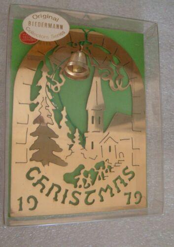 BIEDERMANN BRASS CHRISTMAS ORNAMENT 1979 ORIGINAL BOX