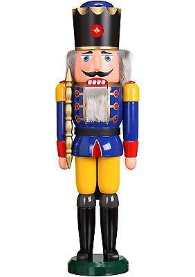 GROßER NUßKNACKER König blau 60cm NEU Erzgebirge Volkskunst Original Weihnacht