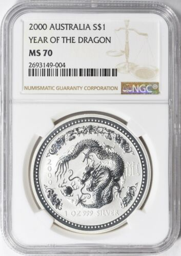 Australia 2000 $1 Year of the Dragon NGC MS-70 Silver Coin
