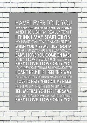 BABY I LOVE YOU - THE RAMONES Lyrics  Wall Art Print Poster A4