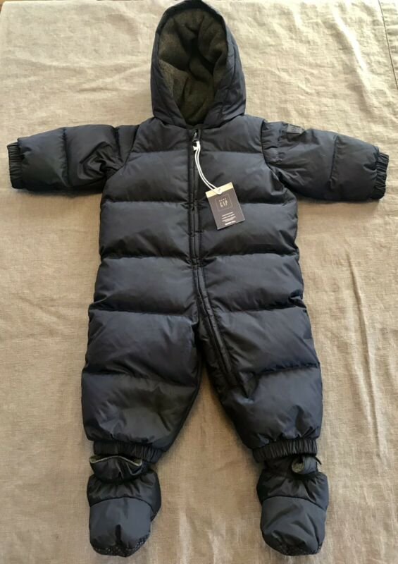 BABY GAP Dark Blue Puffer Down Filled Fleece Lined Bunting Snowsuit 6-12 mo $88