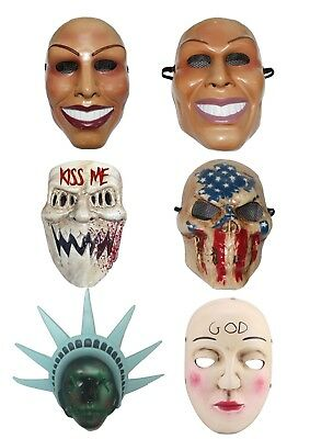 The Purge Mask Grin Halloween Film Movie Horror Fancy Dress Kiss Me God Smiling - Smiling Halloween Mask