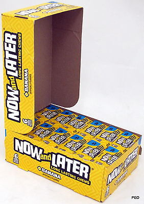 Now and Later Banana Candy Chews 6-piece 24 Count Box Chewy Bulk Taffy Candies